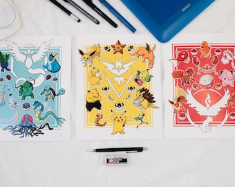 Pokemon Go Yellow Blue and Red Art Print, Pokemon Art Print, Pokemon Teams Prints, Pikachu Wall Art, Charmander Print, Squirtle Poster