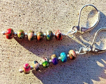 Rainbow Jasper Pair Stone A5232 Gemstone Jewelry Set Handmade Bead Making Handmade Artificial Accessories Setting for Earring