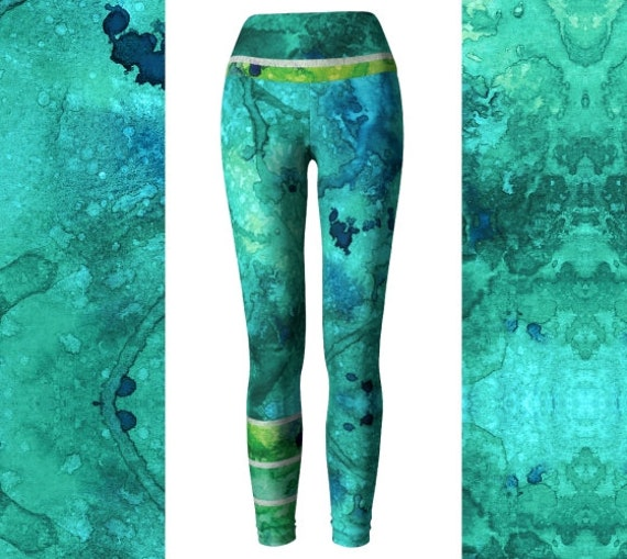 Watercolor Heart Chakra Ocean Mermaid Leggings High Waisted  e6a0f743c4d2e