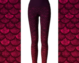 Glitter Scale Mermaid Leggings, Ombre Leggings, Yoga Pants, High Waist Leggings, Scales Yoga Pants, Dragon Scale, Leggings Sale