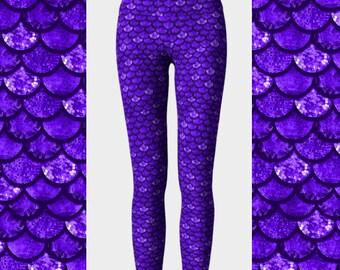 Purple Mermaid Leggings, Glitter Leggings, Yoga Leggings, Women's Leggings, Scale Leggings, Halloween Leggings, Mermaid Halloween