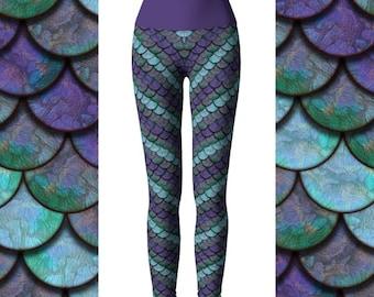 Mermaid Scale Leggings, Mermaid Capris, Yoga Leggings, Dragon Leggings, High Waist Leggings, Mermaid Leggings Women, Scale Leggings