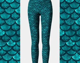 Glitterfish Aqua Mermaid Leggings