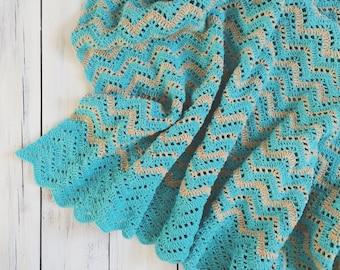 Crochet cotton ripple chevron blanket / babyblanket / throw / blue beige