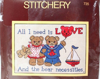 "Vintage Crewel Embroidery Kit Sunset Stitchery ""Bear Necessities"" #735 Diane Brakefield All I Need Is Love Teddy Family Couples Children Art"
