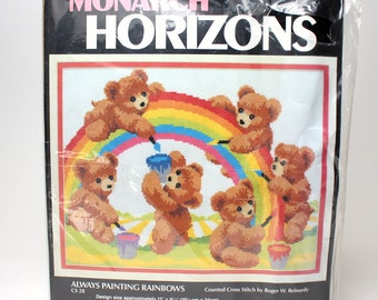 "Vintage Counted Cross Stitch Kit by Monarch Horizons ""Always Painting Rainbows"" #60450 Roger Reinardy Teddy Cubs Childrens Kids Art Decor"