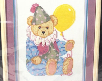"Vintage Counted Cross Stitch Kit by Golden Bee ""Clown Bear"" #60450 Carol Bryan Teddy Cubs Balloon Kids Children Wall Art Birthday Gift"