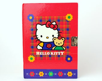 Vintage 1995 Sanrio Hello Kitty Lockable Red Plaid Diary Journal