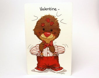 """Vintage 1993 Suzy's Zoo Valentine's Greeting Card """"You make quite an impression!"""" - Ollie Marmot - by Suzy Spafford - Printed in U.S.A."""