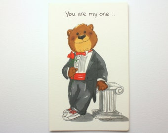 "Vintage 1992 Suzy's Zoo ""You are my one...and only!"" Greeting Card - Bear in a Tux holding a rose - by Suzy Spafford - Printed in U.S.A."