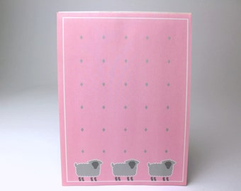 Vintage Sheep Stationery Letter Paper Pad by Herlitz - 26 Sheets - Bright & Lively 80s Animal Farm Farmhouse Lamb Pink Gray