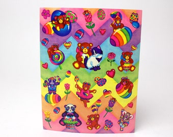 Vintage Lisa Frank Sticker Sheet - Easter Eggs Rainbow Teddy Bears Kitten Cat Pandas Koala Roses Bud Lollipop Hearts - Made in the USA
