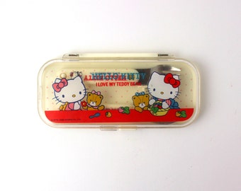 Vintage 1984 Hello Kitty Child's Flatware Set (Case w/ Fork & Spoon) - Made in Japan