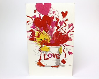 "Vintage 1992 Suzy's Zoo Valentine's Greeting Card ""My love cannot be contained!"" w/ Witzy Duck by Suzy Spafford Printed in U.S.A."