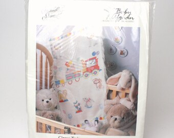 "Vintage Afghan Baby Blanket Cross Stitch Kit by Something Special ""Circus Train"" #49157 Baby Shower Gift Balloons Animals DIY"