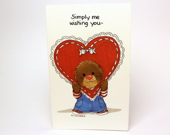 """Vintage 1991 Suzy's Zoo Greeting Card """"Simply me wishing you a Happy Valentine's Day!"""" - Ollie Marmot - by Suzy Spafford - Printed in U.S.A."""