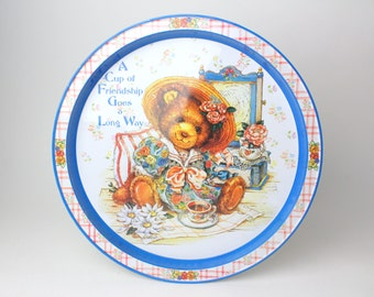 Vintage Round Tin Tray, David Wolrabh - Teddy Bear Dress Up & Tea Party - A Cup of Friendship Goes a Long Way - Metal, Flowers by Gift Inc.