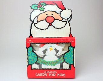 Vintage Hallmark Kid's Holiday Christmas Cards, Set of 12 - Animals shaped die cut cards (bear, penguin and seal)