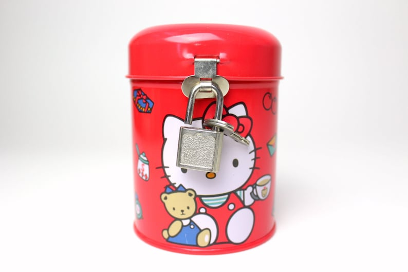Vintage 1991 Sanrio Hello Kitty Tin Coin Piggy Bank w/ Lock & Key - 90s Red  Round Lockable Metal Canister Teddy Bear Tea Time