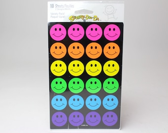 Happy Face Smileys & Stars Sticker Sheets By American Greetings - 10 Sheets - Neon Fluorescent Rainbow Teacher Reward Scrapbook
