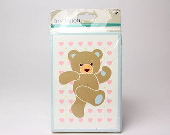 """Set of 8 Vintage Party Invitation Cards by Gibson Greetings """"We'll Have a Beary Good Time!"""" 80s 90s Bear Pink Heart Invites Summer Party USA"""