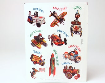 Vintage Hallmark Sticker Sheet - Retro Tin Toy Collection - Based on Roland I. Swanson Jr.'s Collection - Student Reward Stick