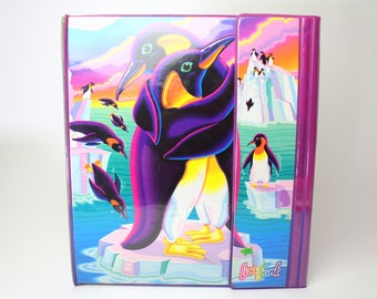 Vintage Lisa Frank Penguins 3 Ring Binder - 90s Trifold Trapper Keeper Style Folder Collectible Retro School Supplies Tri Fold North Pole