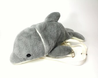 Vintage Gray Dolphin Plush Backpack w/ Zipper Opening - Rare Furry Soft Toy Stuffed Animal Sea Animal Whale Children's or Adults School Gift