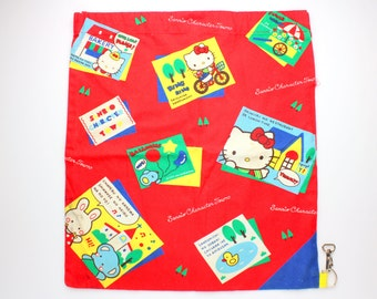 Vintage 1989 Sanrio Character Town Drawstring Bag w/ Hello Kitty, Tuxedo Sam & Cheery Chums - Red - Made in Japan