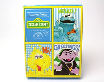 Vintage Sesame Street Note Cards Box Set of 7 - 70s Drawing Board Greeting Cards Blank Cards Carol Wynne The Count Big Bird Cookie Monster