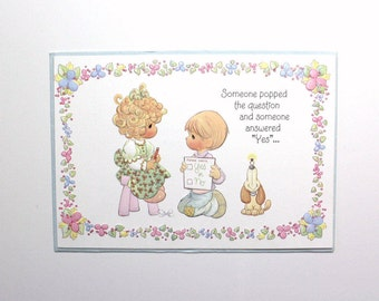 Vintage 90s Precious Moments Engagement Wedding Shower Greeting Card - Someone Popped the Question & Someone Answered Yes - Congratulations