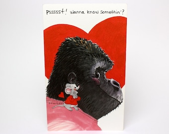 "Vintage 1992 Suzy's Zoo Valentine's Greeting Card ""Wanna know something? I love ya, ya big hunk!"" Gorilla & Mouse by Suzy Spafford"