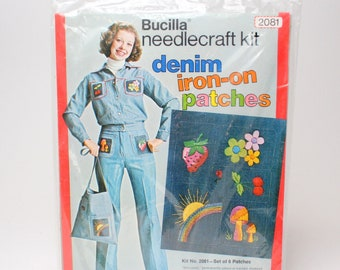 Vintage Bucilla Denim Iron On Patches & Embroidery Kit - # 2081 Needlecraft Strawberry Daisies Sun Rainbow Cherries Mushrooms 70s
