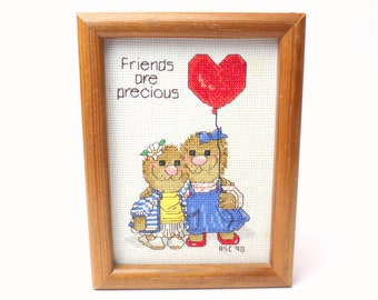 """Vintage 1990 Suzy's Zoo Framed Completed Cross Stitch Wall Hanging """"Friends are precious"""" Handmade Ollie Marmot Spafford From Janlynn 38-69"""