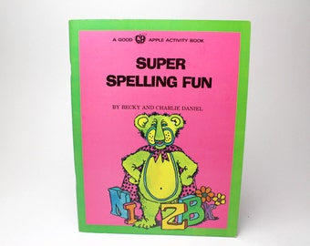 Vintage Educational Workbook - 1978 Super Spelling Fun Activity Coloring Book - Good Apple - Learn consonants, syllables & sounds