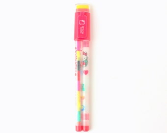 Vintage 1994 Sanrio Hello Kitty Non-Sharpening 2-in-1 Pencil Combo - 1 Pencil, 1 Multi-Color Pencil & 1 Eraser - Made in Taiwan