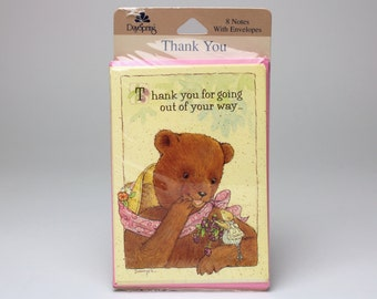 """Vintage Dayspring Thank You Cards, Set of 8 - """"Thank you for going out of your way...to bless my day!"""" by Sawyer - Bear & Mouse"""