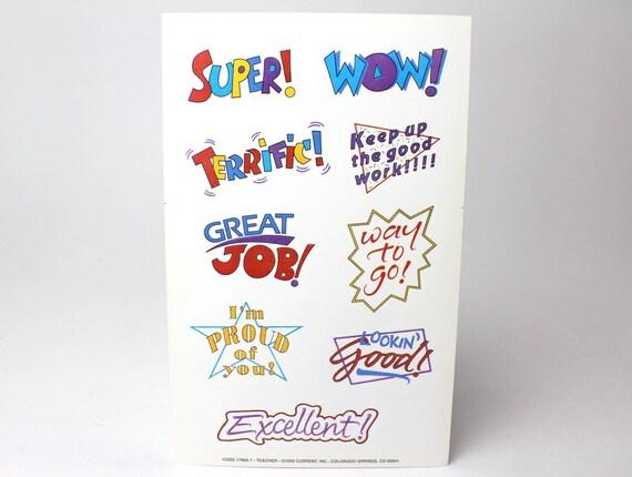 Vintage current inc set of 3 large sticker sheets school etsy image 0 m4hsunfo