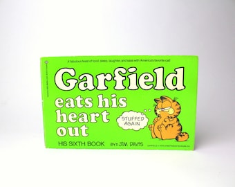 Vintage 1983 Garfield Eats His Heart Out Softcover Book - Jim Davis, his Sixth Book - Comics Fat Orange Cat
