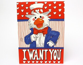 """Vintage 1992 Suzy's Zoo Valentine's Greeting Card """"I want you - to be my Valentine!"""" Uncle Sam Duck by Suzy Spafford"""