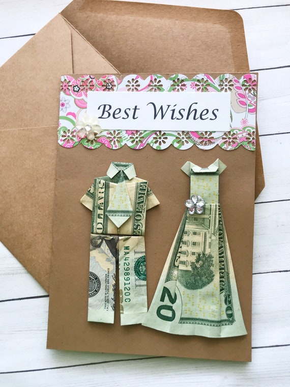 Origami Card Bride And Groom Wedding Card Origami Money Etsy