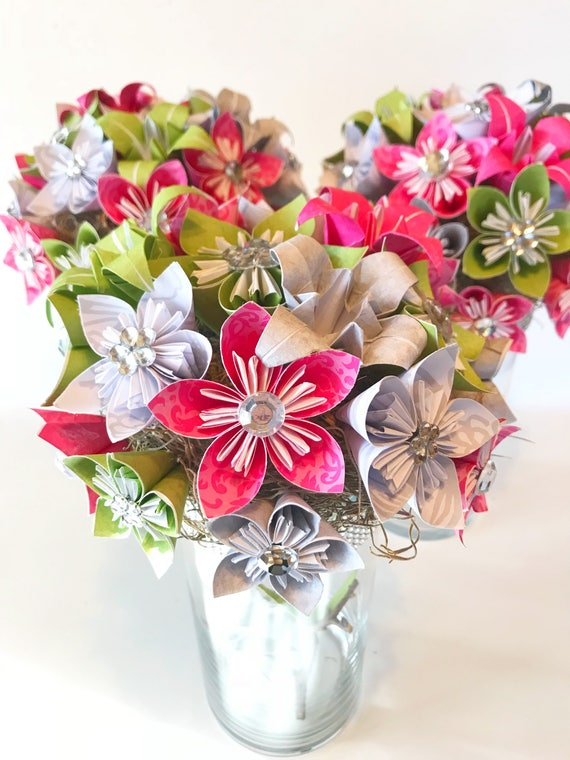 Wedding centerpiece artificial flowers origami flowers etsy image 0 junglespirit Choice Image