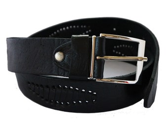 Handmade genuine leather belt for men in Black