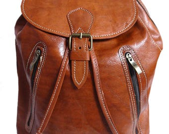 Handmade  Leather Backpack  Rucksack in Tan and brown