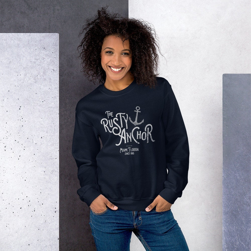 80s Sweatshirts, Sweaters, Vests | Women Classic Tv Comedy The Golden Girls Inspired Rusty Anchor Miami Vintage Retro 1980S 80S Distressed Adult Unisex Sweatshirt Free Shipping $42.00 AT vintagedancer.com