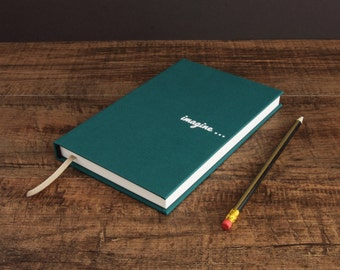 Hardcover personalised writing book - handbound, unique, unlined, creative journal in various vivid contemporary colours