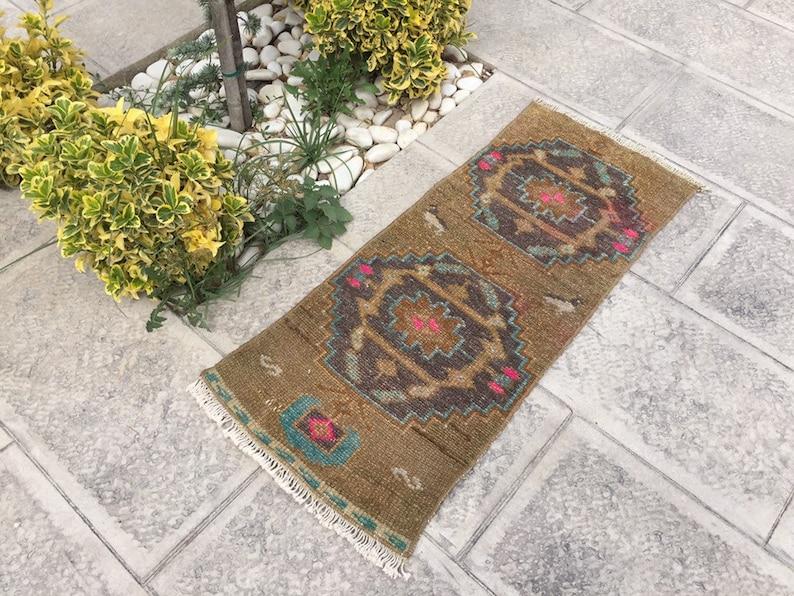 Turkish Rug HANDMADE Carpet Rug Vintage Rug Decorative Rug Wool Area Rug 16\u201dx40\u201d inches Wool Rug Doormat 41x100 Cm Small Carpet Rug