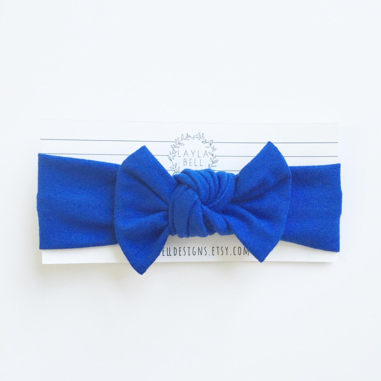 Royal Blue Jersey Bow Headwrap Knit Headwrap Baby Headband