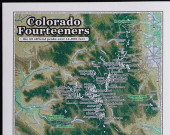 14ers map | Etsy