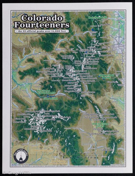 Colorado Fourteeners small | Etsy